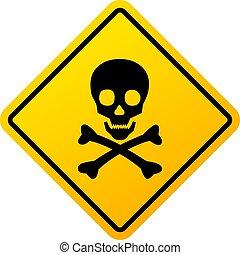 sinal, abstratos, perigo, cranio, ilustração