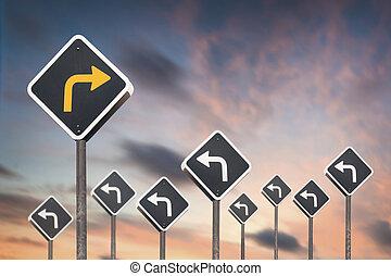 sinal, alternativa, maneira, tráfego, conceito