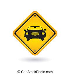 sinal amarelo, com, car