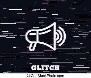 sinal., anúncio, dispositivo, icon., megafone, linha