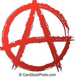 sinal., anarquia, símbolo, antisocial, símbolo., ou, punk,...