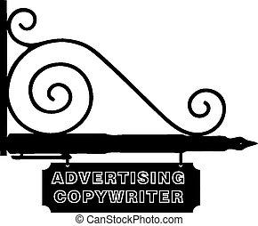 sinal, anunciando, copywriter