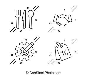 sinal., aperto mão, etiquetas, negócio, set., mão, cogwheel, desconto, coupons., alimento, settings., editar, venda, cutelaria, vetorial, ícones