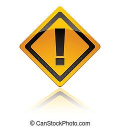 sinal aviso, ícones, exclamação