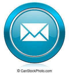 sinal, azul, poste, ícone, email
