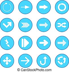 sinal azul, seta preta, ícone