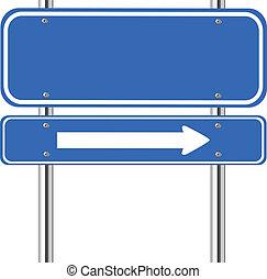 sinal azul, tráfego, seta, em branco, branca