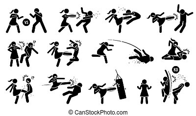 sinal, batendo, mulher homem, symbols., figura, vara