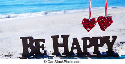 """sinal, """"be, happy"""", com, corações, praia"""
