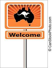 sinal bem-vindo, com, mapa, e, canguru