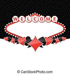 sinal bem-vindo, fundo, com, cartão, ternos