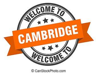 sinal, bem-vindo, stamp., cambridge, laranja