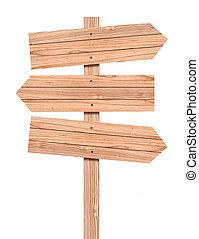 sinal, branca, caminho, cortando, madeira, isolado, direção...