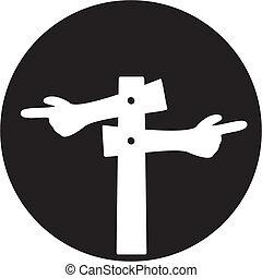 sinal branco, estrada, ícone