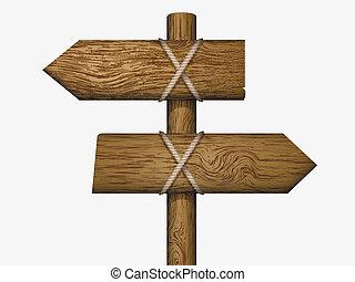 sinal branco, madeira
