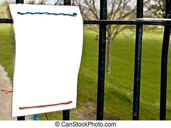 sinal branco, railings., penduradas