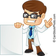 sinal branco, segurando, apontar, doutor