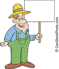sinal., caricatura, segurando, agricultor