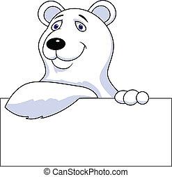 sinal, caricatura, urso, polar, em branco