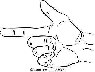 sinal, collection., arma, ilustração, mão, vetorial, mãos, fazer, design.