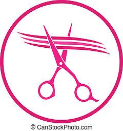 sinal, com, tesouras, cabelo cortante