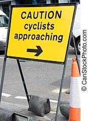 sinal cuidado, para, ciclistas