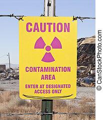 sinal cuidado, radioativo, contaminação, área