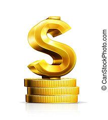 sinal dólar, e, moedas