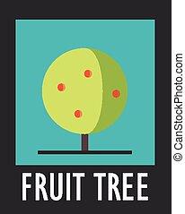 sinal, de, árvore fruta, ligado, um, experiência azul