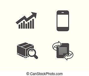 sinal., demanda, icons., smartphone, curva, marketing, busca, pacote