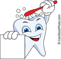 sinal, dente, em branco