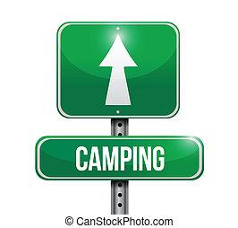 sinal, desenho, estrada, ilustração, acampamento