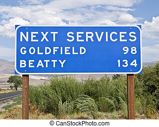sinal, deserto, serviço, california's, mojave, logo