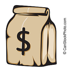 sinal, dinheiro, papel, dólar, saco