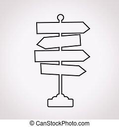 sinal direção, estrada, ícone