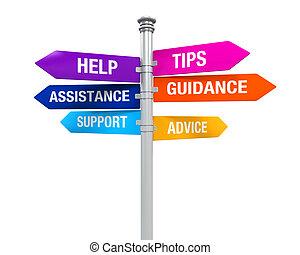 sinal, direções, apoio, ajuda, sugestões