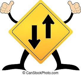 sinal, dois, ilustração, vetorial, tráfego, maneira