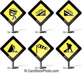 sinal, estrada, ícones