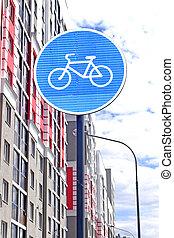sinal estrada, bicicleta, caminho