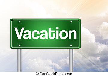 sinal, estrada, férias, verde, conceito