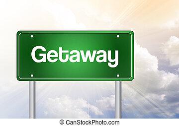 sinal, estrada, getaway, verde, conceito
