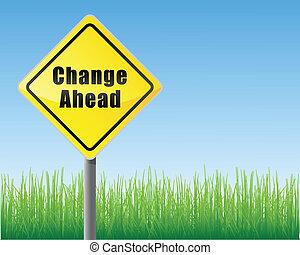 sinal estrada, mudança, à frente
