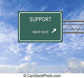 sinal estrada, para, apoio