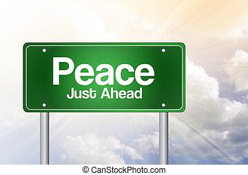 sinal, estrada, paz verde, conceito