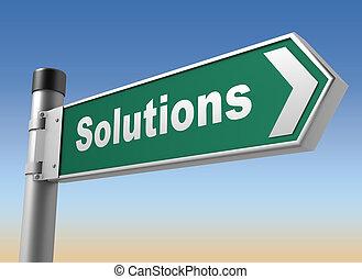 sinal estrada, soluções, ilustração, 3d