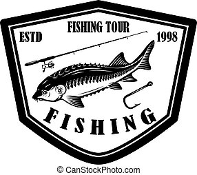 sinal, esturjão, rod., ilustração, etiqueta, elemento, pesca...