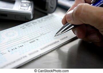 sinal, firmar, cheque., onu, cheque, banco