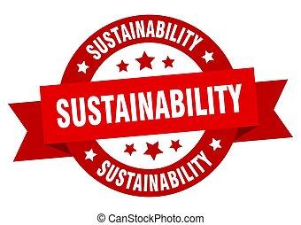 sinal, fita, label., isolado, sustainability, redondo