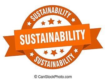 sinal, fita, label., sustainability, redondo, isolado