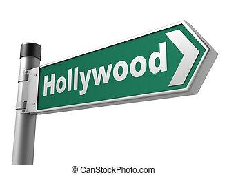 sinal hollywood, estrada, ilustração, 3d
